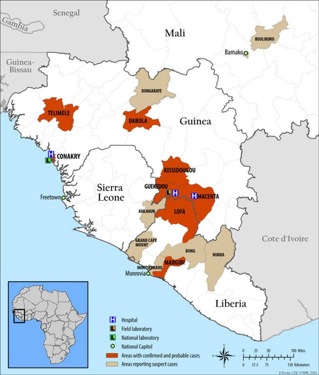 The 2013 outbreak of Ebola virus disease is thought to have originated in Guékédou, Guinea. From here, it spread to the capital of Conakry as well as into nearby Liberia and Sierra Leone. Suspected cases in neighbouring Mali were found not to be EVD. Source: Wikipedia